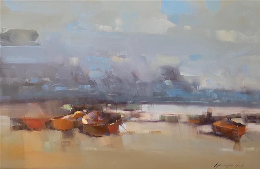 Original art for sale at UGallery.com | Boats after Fishing by Vahe Yeremyan | $1,000 | oil painting | 20' h x 31' w | ..\art\oil-painting-Boats-after-Fishing