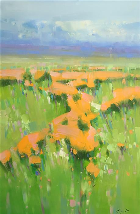 Original art for sale at UGallery.com | Field of Yellow Flowers by Vahe Yeremyan | $1,800 | oil painting | 45' h x 30' w | ..\art\oil-painting-Field-of-Yellow-Flowers