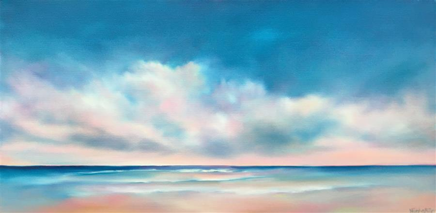 Original art for sale at UGallery.com | Beach Glow by Nancy Hughes Miller | $875 | oil painting | 15' h x 30' w | ..\art\oil-painting-Beach-Glow