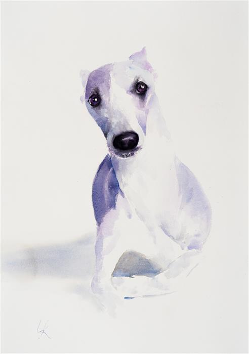 Original art for sale at UGallery.com | Bailey by Yuriy Kraft | $500 | watercolor painting | 22.4' h x 15.7' w | ..\art\watercolor-painting-Bailey