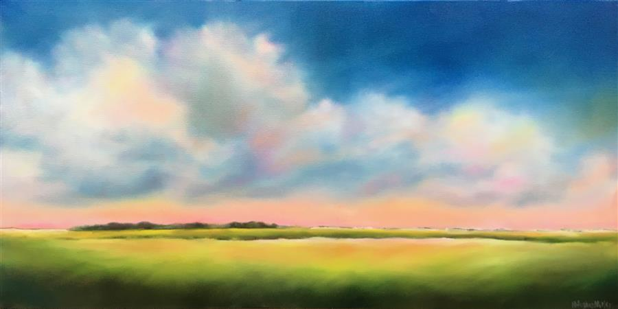 Original art for sale at UGallery.com | Marsh Glow by Nancy Hughes Miller | $875 | oil painting | 15' h x 30' w | ..\art\oil-painting-Marsh-Glow
