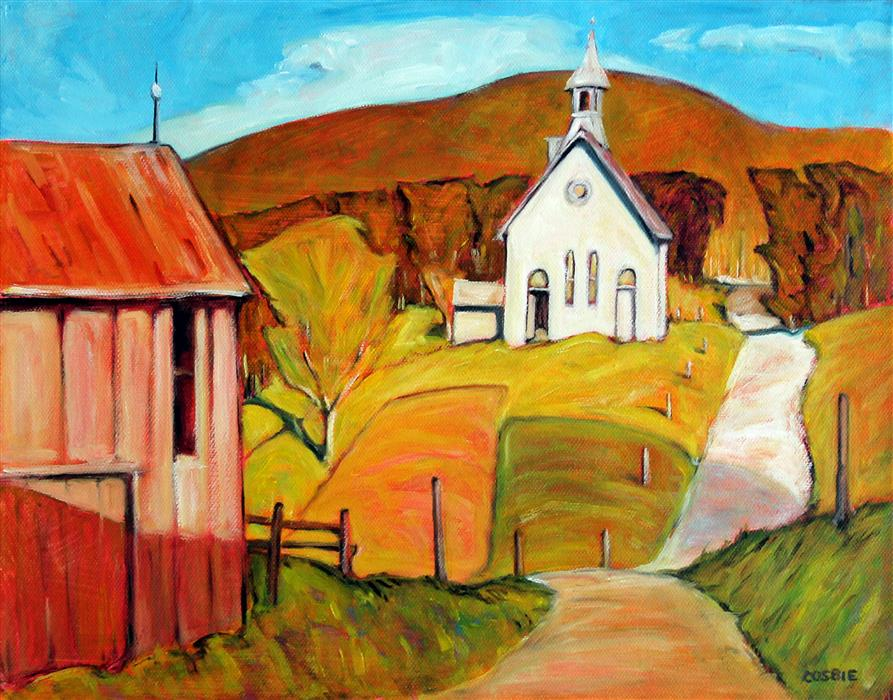 Original art for sale at UGallery.com | Adirondack Church by Doug Cosbie | $375 | oil painting | 11' h x 14' w | ..\art\oil-painting-Adirondack-Church