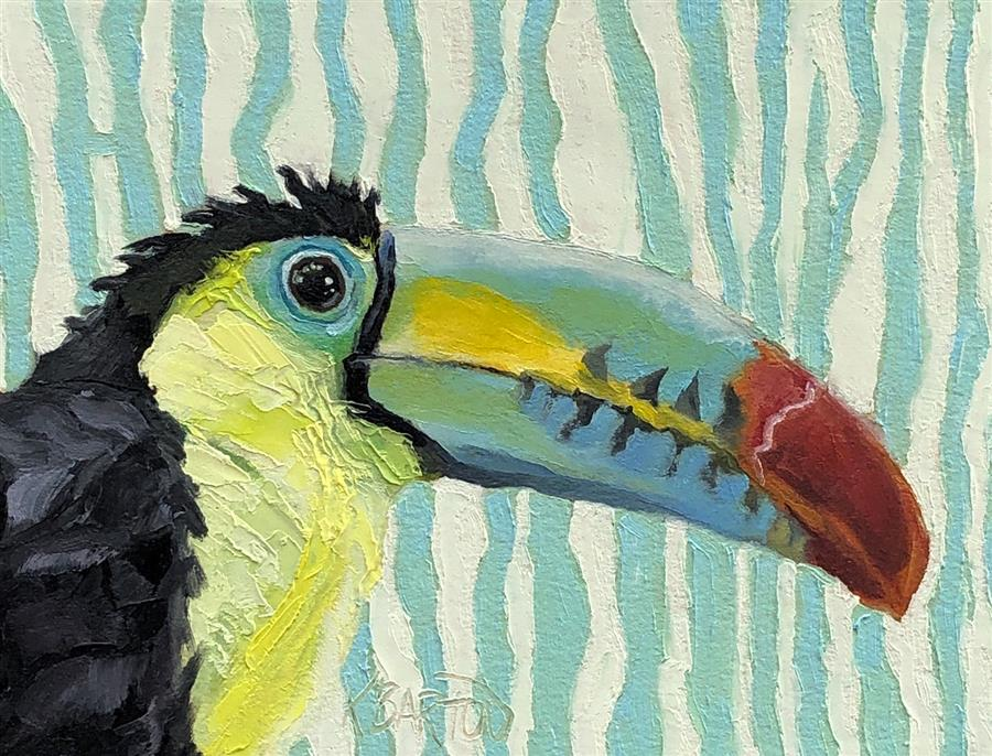 Original art for sale at UGallery.com | One Can Toucan by Karen Barton | $325 | oil painting | 6' h x 8' w | ..\art\oil-painting-One-Can-Toucan