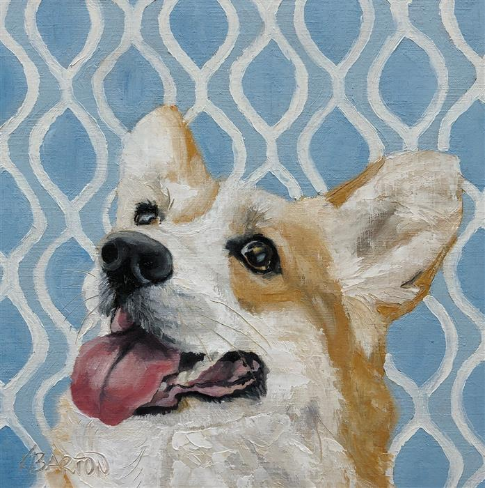 Original art for sale at UGallery.com | Did You Say Treat? by Karen Barton | $375 | oil painting | 8' h x 8' w | ..\art\oil-painting-Did-You-Say-Treat
