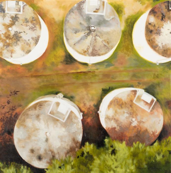 Original art for sale at UGallery.com | The Water Towers by Susan Walker | $800 | oil painting | 18' h x 18' w | ..\art\oil-painting-The-Water-Towers