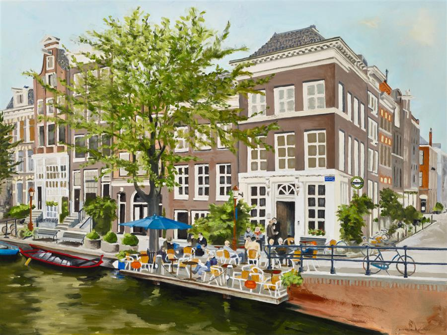 Original art for sale at UGallery.com | Amsterdam by Susan Walker | $3,800 | oil painting | 36' h x 48' w | ..\art\oil-painting-Amsterdam