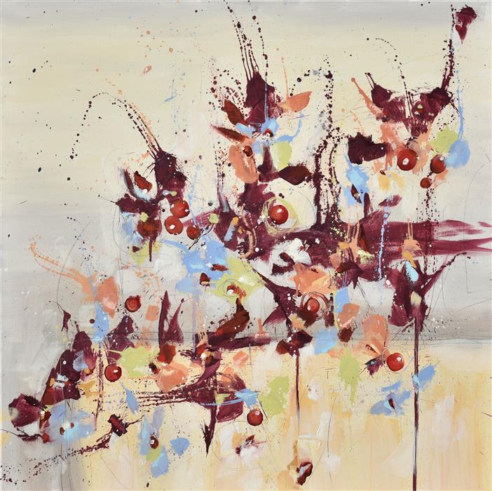 Original art for sale at UGallery.com | Fleur de Nostalgie (Flower of Longing) by Cynthia Ligeros | $1,800 | oil painting | 30' h x 30' w | ..\art\oil-painting-Fleur-de-Nostalgie-Flower-of-Longing