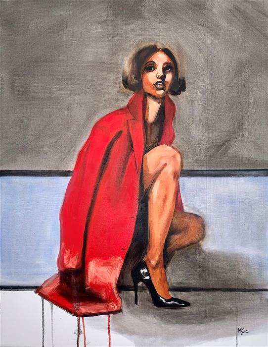 Original art for sale at UGallery.com | New Red Coat by Malia Pettit | $1,425 | oil painting | 28' h x 22' w | ..\art\oil-painting-New-Red-Coat