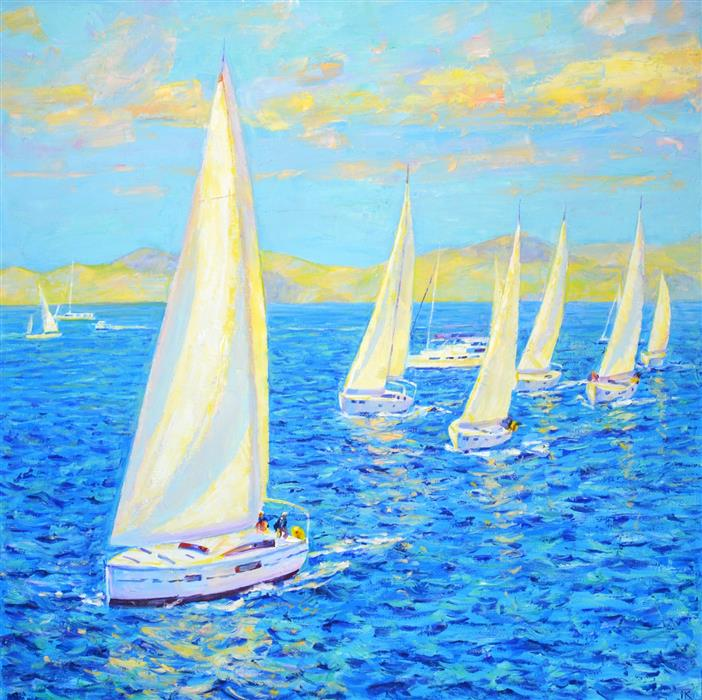 Original art for sale at UGallery.com | Sailing Regatta by Iryna Kastsova | $2,350 | oil painting | 39' h x 39' w | ..\art\oil-painting-Sailing-Regatta