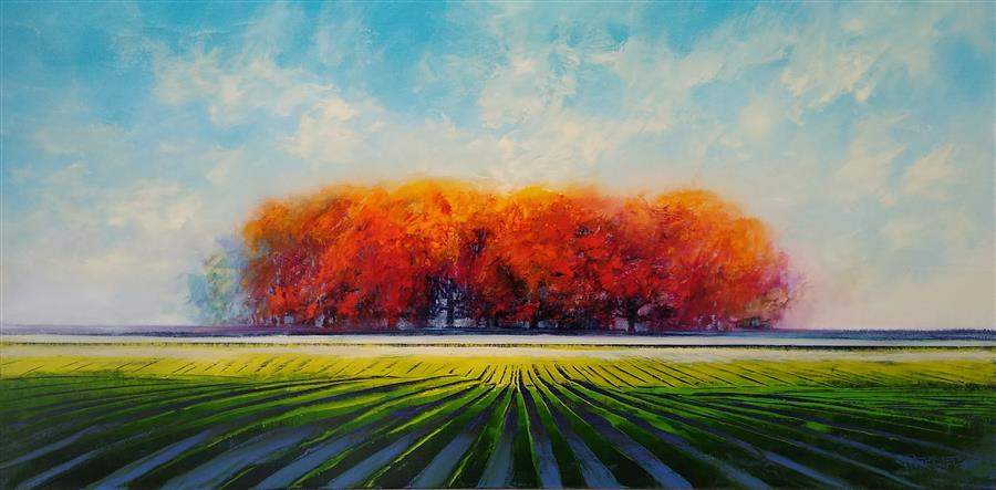 Original art for sale at UGallery.com | Autumn Beauty by George Peebles | $2,450 | oil painting | 30' h x 60' w | ..\art\oil-painting-Autumn-Beauty