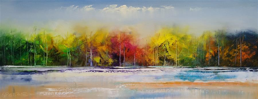 Original art for sale at UGallery.com | First Snowfall by George Peebles | $750 | oil painting | 12' h x 24' w | ..\art\oil-painting-First-Snowfall