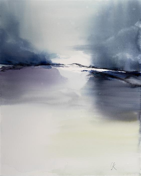 Original art for sale at UGallery.com | Abstract Landscape VIII by Yuriy Kraft | $600 | watercolor painting | 22.4' h x 21.3' w | ..\art\watercolor-painting-Abstract-Landscape-VIII
