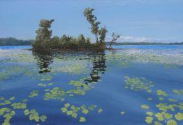 Impressionism art,Landscape art,Seascape art,acrylic painting,LIly Island