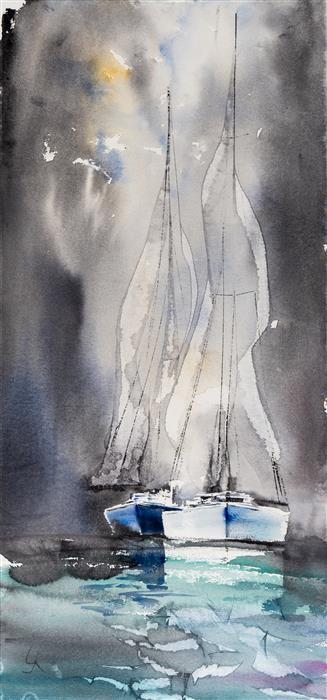 Original art for sale at UGallery.com | Sailing VI by Yuriy Kraft | $500 | watercolor painting | 22.4' h x 10.6' w | ..\art\watercolor-painting-Sailing-VI