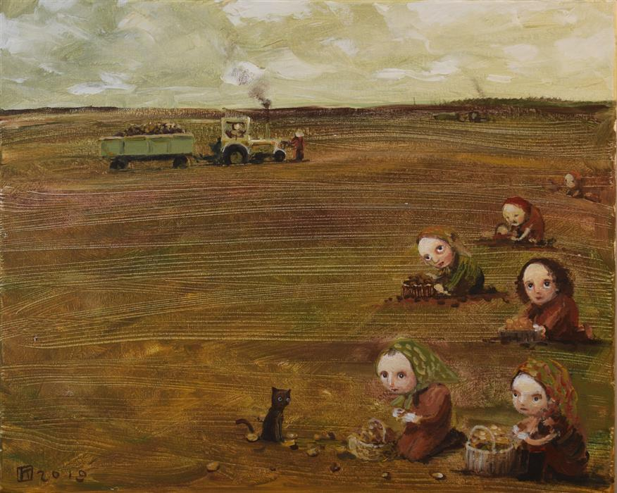 Original art for sale at UGallery.com | Digging Potatoes by Krzysztof Iwin | $1,800 | acrylic painting | 15.75' h x 19.69' w | ..\art\acrylic-painting-Digging-Potatoes