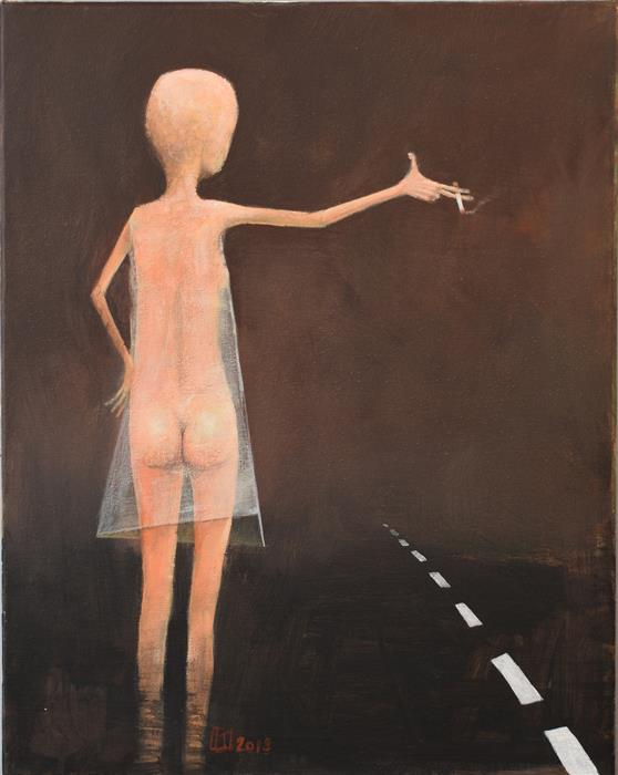 Original art for sale at UGallery.com | Hitchhiker by Krzysztof Iwin | $1,800 | acrylic painting | 19.68' h x 15.74' w | ..\art\acrylic-painting-Hitchhiker
