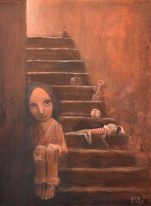 Original art for sale at UGallery.com | In the Basement by Krzysztof Iwin | $1,450 | acrylic painting | 11.81' h x 15.74' w | ..\art\acrylic-painting-In-the-Basement