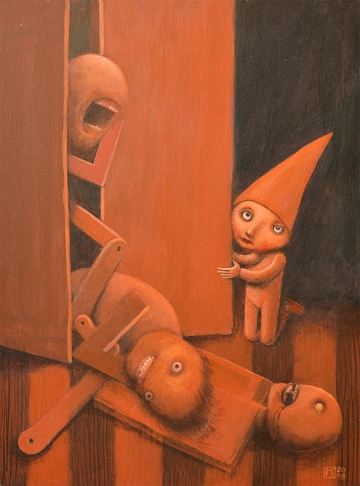 Original art for sale at UGallery.com | Corpses in the Closet by Krzysztof Iwin | $1,450 | acrylic painting | 15.74' h x 11.81' w | ..\art\acrylic-painting-Corpses-in-the-Closet
