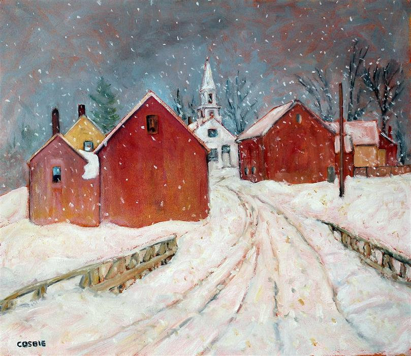 Original art for sale at UGallery.com | Winter Light, Vermont by Doug Cosbie | $375 | oil painting | 11' h x 14' w | ..\art\oil-painting-Winter-Light-Vermont