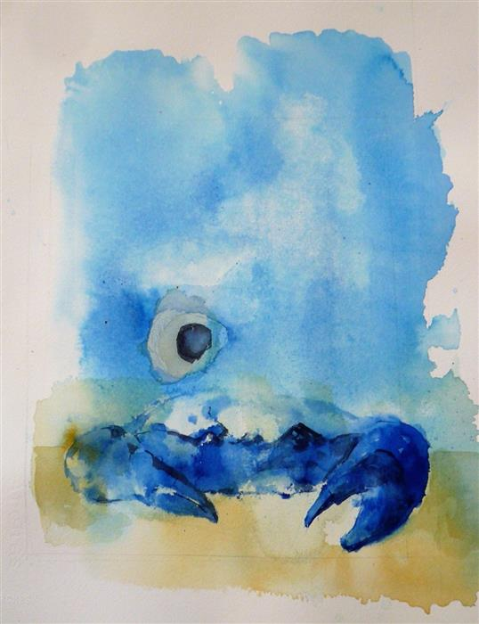 Original art for sale at UGallery.com | Blue Crab by Robin Hanway | $450 | watercolor painting | 15' h x 11.75' w | ..\art\watercolor-painting-Blue-Crab