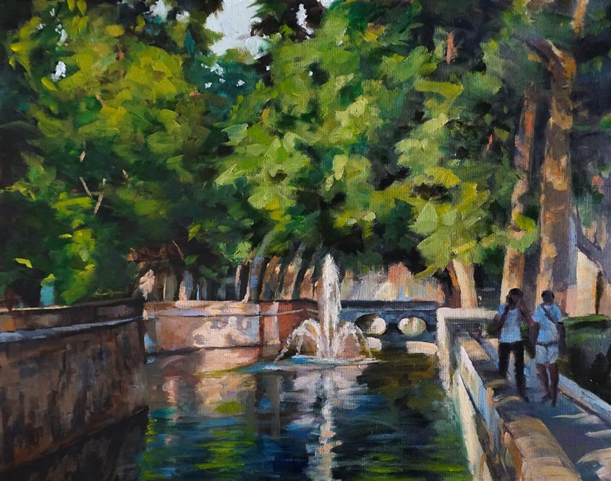 Original art for sale at UGallery.com | Canal in Nimes by Jonelle Summerfield | $700 | oil painting | 14' h x 18' w | ..\art\oil-painting-Canal-in-Nimes