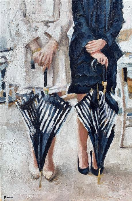 Original art for sale at UGallery.com | The Striped Umbrellas by Nava Lundy | $2,000 | acrylic painting | 36' h x 24' w | ..\art\acrylic-painting-The-Striped-Umbrellas