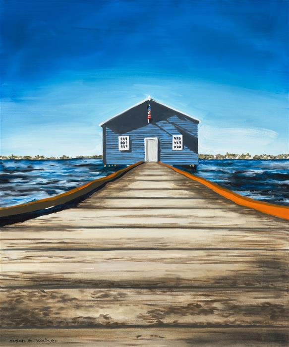 Original art for sale at UGallery.com | Blue House by Susan Walker | $1,100 | oil painting | 24' h x 20' w | ..\art\oil-painting-Blue-House