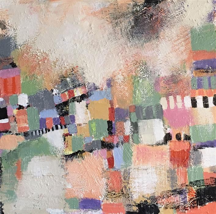Original art for sale at UGallery.com | Strawberry Hill by Brenda Buffett | $1,700 | mixed media artwork | 36' h x 36' w | ..\art\mixed-media-artwork-Strawberry-Hill