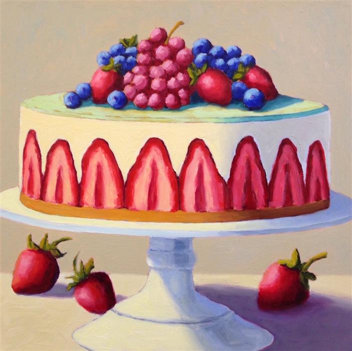 Original art for sale at UGallery.com | Strawberry Fraisier by Pat Doherty | $975 | oil painting | 18' h x 18' w | ..\art\oil-painting-Strawberry-Fraisier