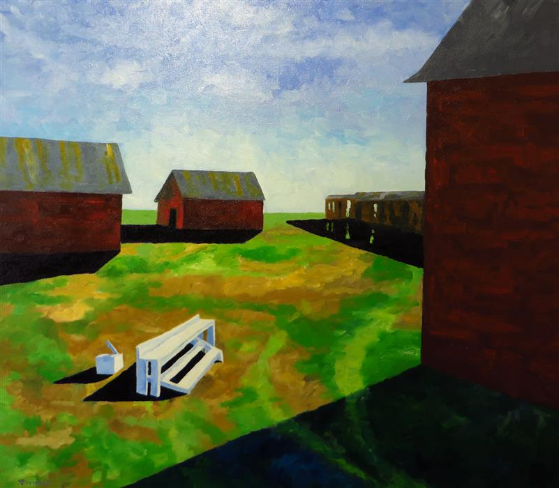 Original art for sale at UGallery.com | Century Farm by Mitchell Freifeld | $575 | oil painting | 35' h x 40' w | ..\art\oil-painting-Century-Farm