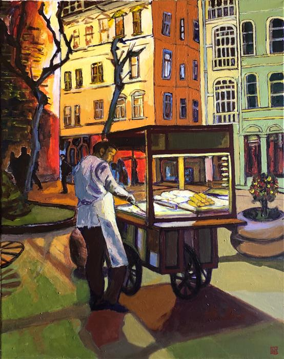Original art for sale at UGallery.com | Hot Dog Stand in NYC by Laura (Yi Zhen) Chen | $550 | acrylic painting | 20' h x 16' w | ..\art\acrylic-painting-Hot-Dog-Stand-in-NYC