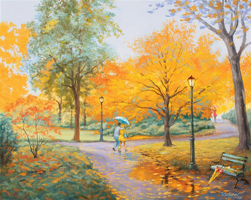 Original art for sale at UGallery.com | Melody of Autumn. Forgotten Umbrella. by Stanislav Sidorov | $1,575 | oil painting | 24' h x 30' w | ..\art\oil-painting-Melody-of-Autumn-Forgotten-Umbrella