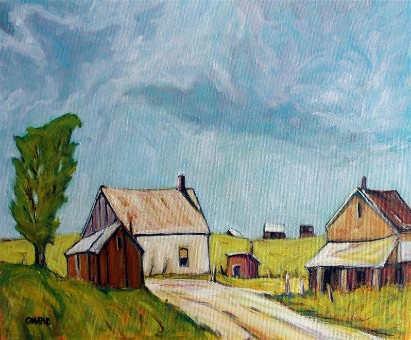 Original art for sale at UGallery.com | Old Farmstead, Enfield, North Carolina by Doug Cosbie | $350 | oil painting | 10' h x 12' w | ..\art\oil-painting-Old-Farmstead-Enfield-North-Carolina