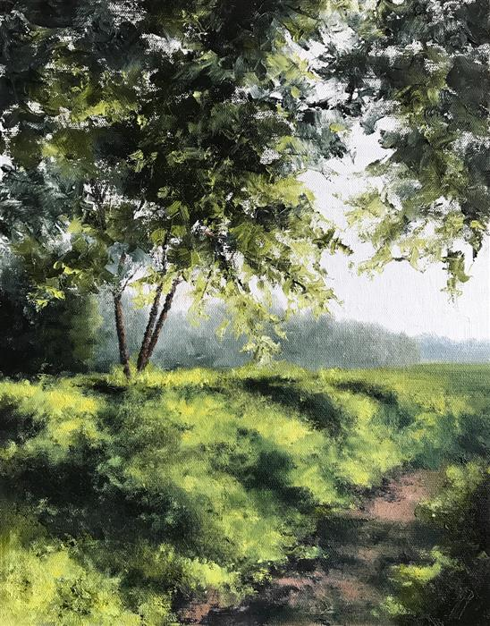 Original art for sale at UGallery.com | Streams of Sunlight by Jill Poyerd | $800 | oil painting | 14' h x 11' w | ..\art\oil-painting-Streams-of-Sunlight