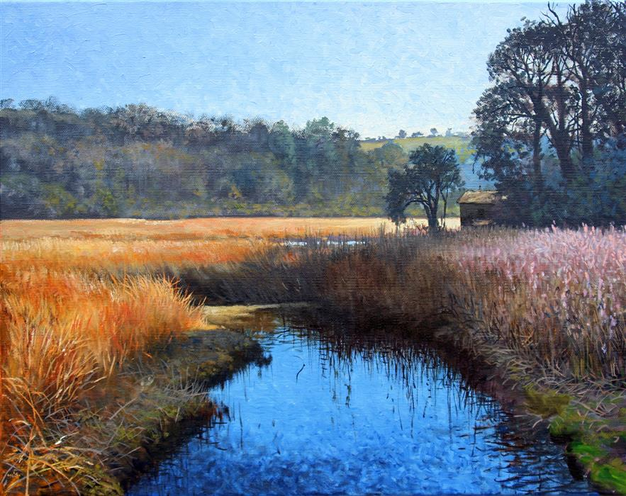 Original art for sale at UGallery.com | Lowland Marsh by Kent Sullivan | $1,550 | oil painting | 16' h x 20' w | ..\art\oil-painting-Lowland-Marsh