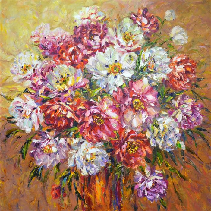Original art for sale at UGallery.com | Bouquet by Iryna Kastsova | $2,450 | oil painting | 39' h x 39' w | ..\art\oil-painting-Bouquet