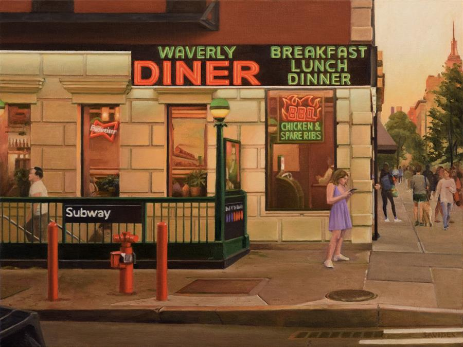Original art for sale at UGallery.com | Waverly Diner at Sunset by Nick Savides | $2,600 | oil painting | 18' h x 24' w | ..\art\oil-painting-Waverly-Diner-at-Sunset