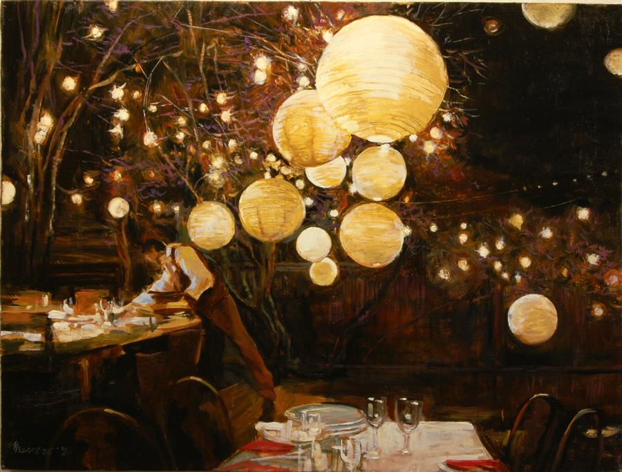 Original art for sale at UGallery.com | Dinner Setup by Onelio Marrero | $1,125 | oil painting | 18' h x 24' w | ..\art\oil-painting-Dinner-Setup