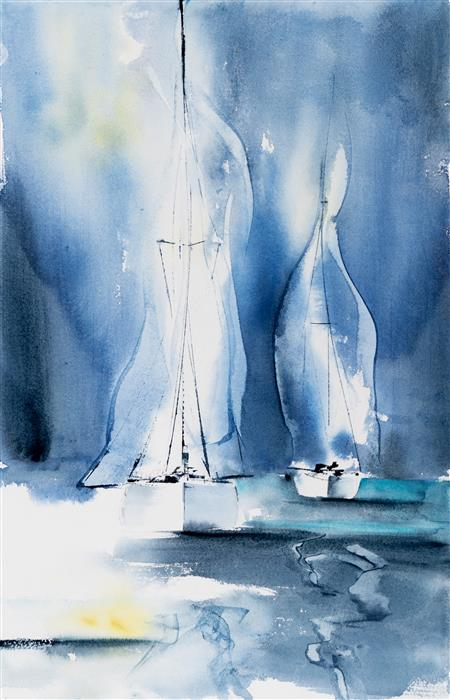 Original art for sale at UGallery.com | Sailing VII by Yuriy Kraft | $500 | watercolor painting | 20.1' h x 13' w | ..\art\watercolor-painting-Sailing-VII