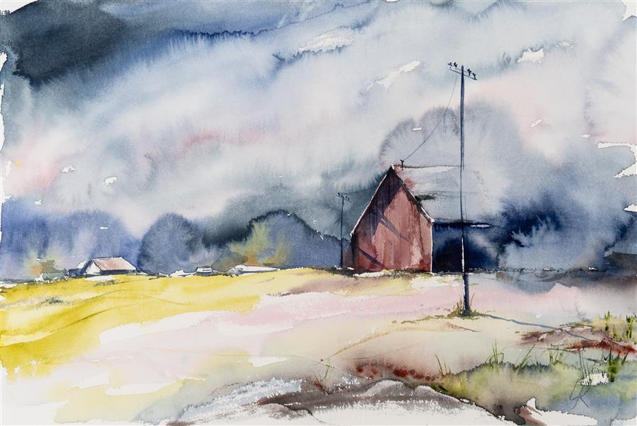 Original art for sale at UGallery.com | Cottage Landscape VI by Yuriy Kraft | $600 | watercolor painting | 20' h x 22.4' w | ..\art\watercolor-painting-Cottage-Landscape-VI