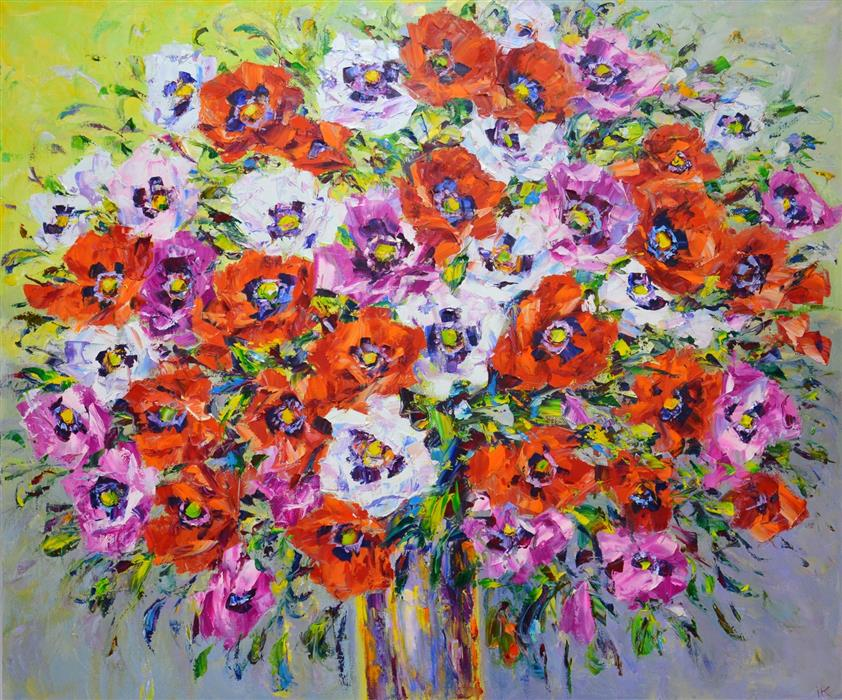 Original art for sale at UGallery.com | Poppies by Iryna Kastsova | $2,000 | oil painting | 39' h x 47' w | ..\art\oil-painting-Poppies-67381