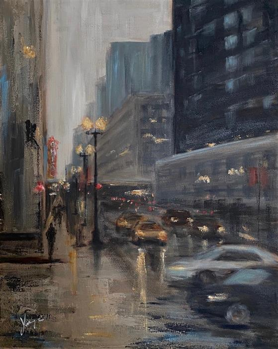 Original art for sale at UGallery.com | State Street at Dusk by Yangzi Xu | $725 | oil painting | 20' h x 16' w | ..\art\oil-painting-State-Street-at-Dusk