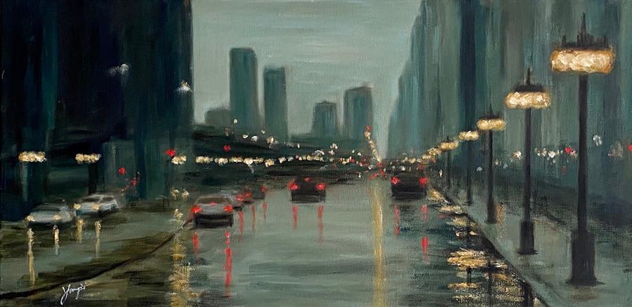 Original art for sale at UGallery.com | Rainy Day on Michigan Ave by Yangzi Xu | $525 | acrylic painting | 12' h x 24' w | ..\art\acrylic-painting-Rainy-Day-on-Michigan-Ave
