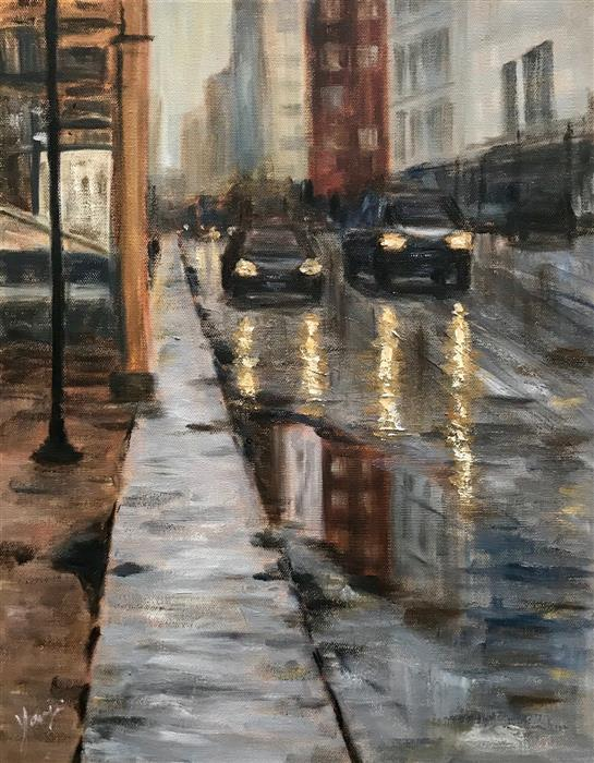 Original art for sale at UGallery.com | On State St by Yangzi Xu | $475 | oil painting | 18' h x 14' w | ..\art\oil-painting-On-State-St