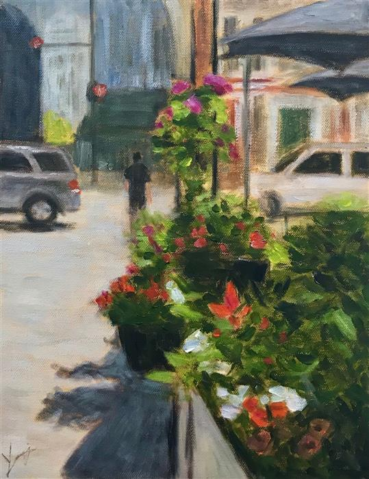 Original art for sale at UGallery.com | Summer Street by Yangzi Xu | $400 | oil painting | 14' h x 11' w | ..\art\oil-painting-Summer-Street