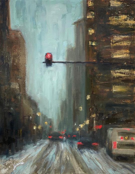 Original art for sale at UGallery.com | A Snowy Day by Yangzi Xu | $400 | oil painting | 14' h x 11' w | ..\art\oil-painting-A-Snowy-Day