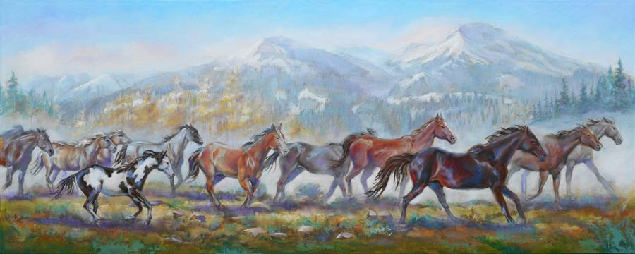 Original art for sale at UGallery.com | On the Move by Pat Cross | $1,950 | oil painting | 16' h x 40' w | ..\art\oil-painting-On-the-Move