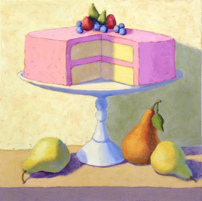 Original art for sale at UGallery.com | Layer Cake with Pears by Pat Doherty | $1,500 | oil painting | 24' h x 24' w | ..\art\oil-painting-Layer-Cake-with-Pears