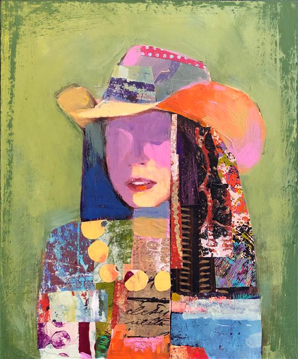 Original art for sale at UGallery.com | Patchwork Cowgirl (Study) by Darlene McElroy | $425 | mixed media artwork | 10' h x 8' w | ..\art\mixed-media-artwork-Patchwork-Cowgirl-Study