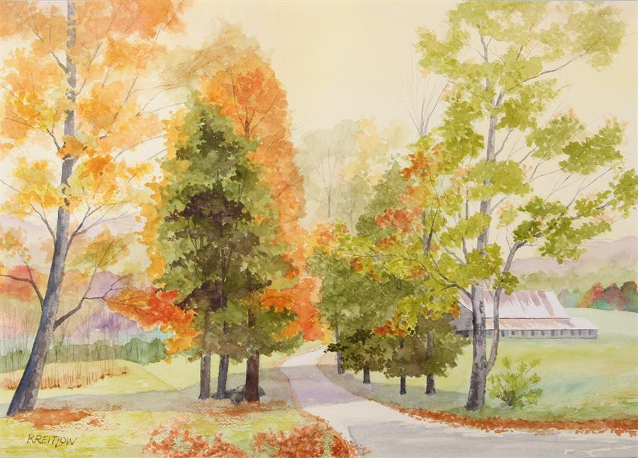 Original art for sale at UGallery.com | Coolidge Farm Road by Bill Kreitlow | $675 | watercolor painting | 15' h x 21' w | ..\art\watercolor-painting-Coolidge-Farm-Road